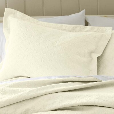 Marie Matelasse Stonewashed Standard Sham Size: King, Color: Cream
