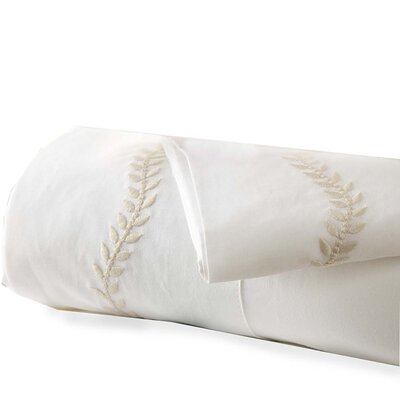 Queen Embroidered Percale 200 Thread Count Cotton Sheet Set Color: Natural