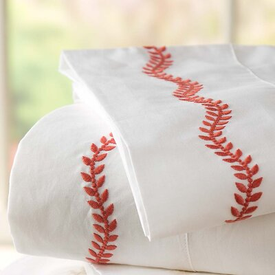 Queen Embroidered Percale 200 Thread Count Cotton Sheet Set Color: Paprika