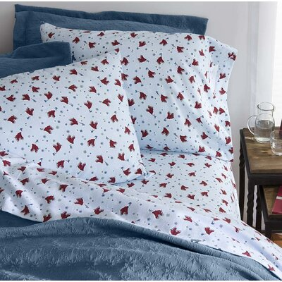 Ice Skates Flannel 100% Cotton Sheet Set Size: Full