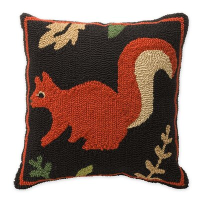 Woodland Hooked Squirrel Outdoor Throw Pillow