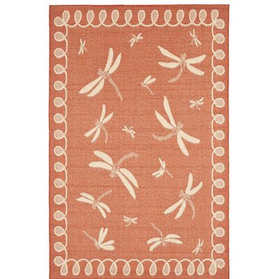 Dragonflies Terracotta Area Rug