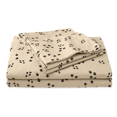 Paw Print 200 Thread Count 100% Cotton Sheet Set Size: Full