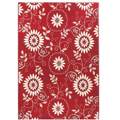 Lexington Bandana Red/White Indoor/Outdoor Area Rug Rug Size: Rectangle 23 x 76