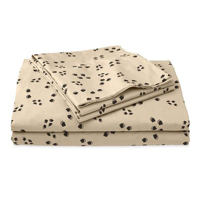 Paw Print 200 Thread Count 100% Cotton Sheet Set Size: Twin