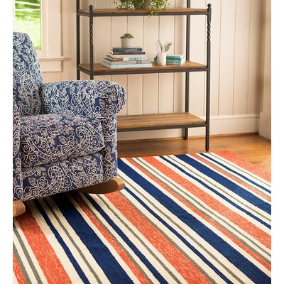 Coral Stripe Hand Hooked Red/Blue Indoor/Outdoor Area Rug Rug Size: Rectangle 2' x 3'5