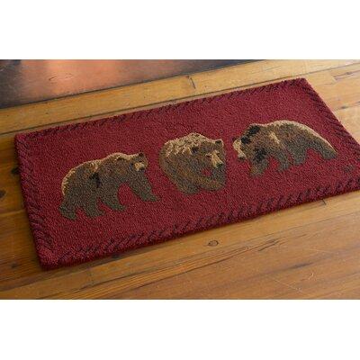 Bear Hand-Hooked Wool Area Rug