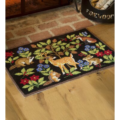 Woodland Animals Hooked Wool Green/Black Area Rug