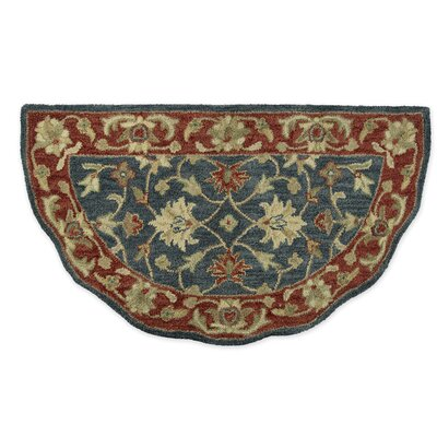Elizabeth Floral Half Round Hand-Tufted Wool Blue/Red Area Rug