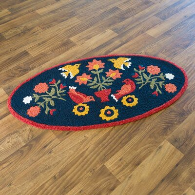 Ansley Folk Art Hand-Hooked Blue Indoor/Outdoor Area Rug
