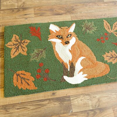 Fox and Fall Leaves Hand-Hooked Green/Brown Indoor/Outdoor Area Rug