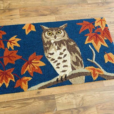 Owl and Fall Leaves Hand-Hooked Blue/Gray/Orange Indoor/Outdoor Area Rug