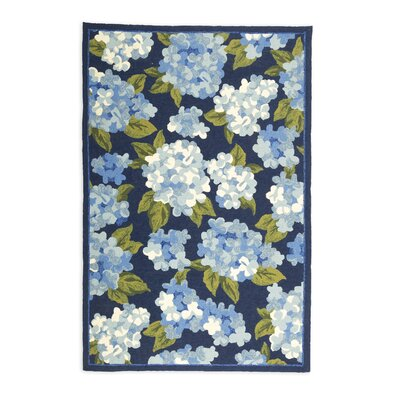 Hydrangeas Hand Hooked Blue Indoor/Outdoor Area Rug Size: 8 x 10