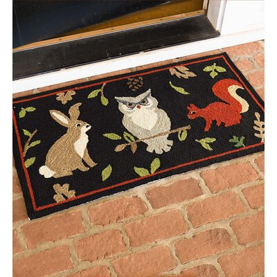 Woodland Hooked Black Indoor/Outdoor Area Rug