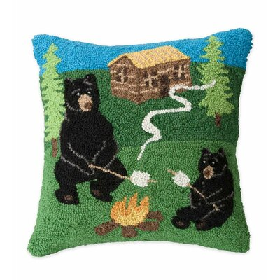 Hand-Hooked Camping Bears Wool Throw Pillow