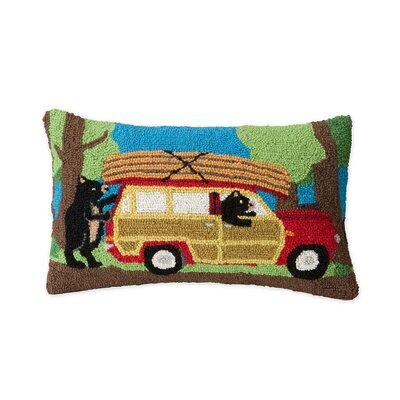 Hand-Hooked Canoeing Bears Wool Lumbar Pillow