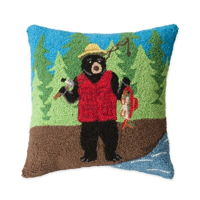 Hand-Hooked Fishing Bear Wool Throw Pillow