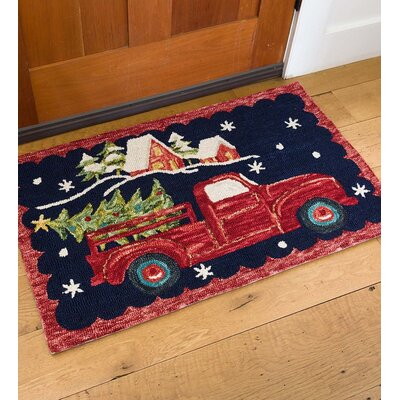 Holiday Harvest Hand Hooked Wool Red/Green Indoor/Outdoor Area Rug