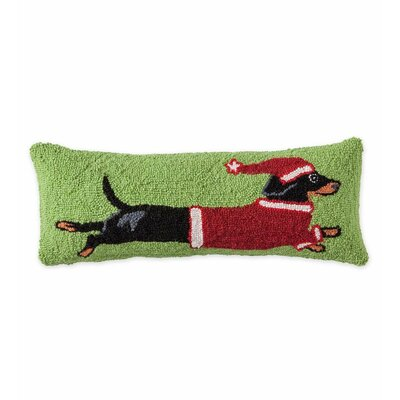 Leaping Dachshund Hooked Holiday Wool Throw Pillow
