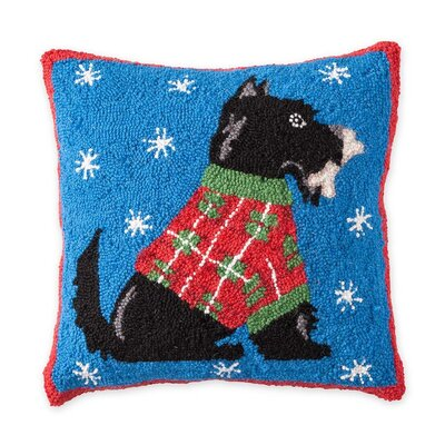 Scottish Terrier Hooked Holiday Wool Throw Pillow