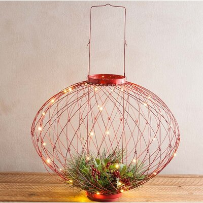 Adjustable Wire-Framed Holiday Decorative Lantern Color: Red 54976 RED