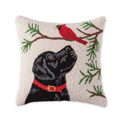 Black Lab and Cardinal Hooked Holiday Wool Throw Pillow