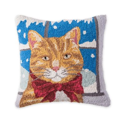 Tabby Cat Hooked Holiday Wool Throw Pillow