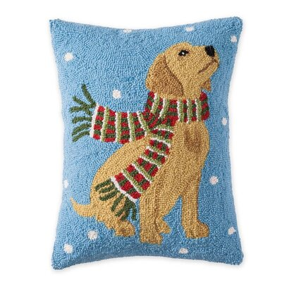 Yellow Lab Hooked Holiday Wool Throw Pillow