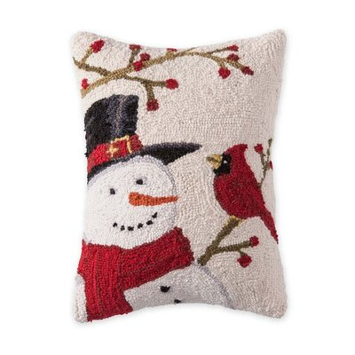 Snowman and Cardinal Hooked Wool Throw Pillow
