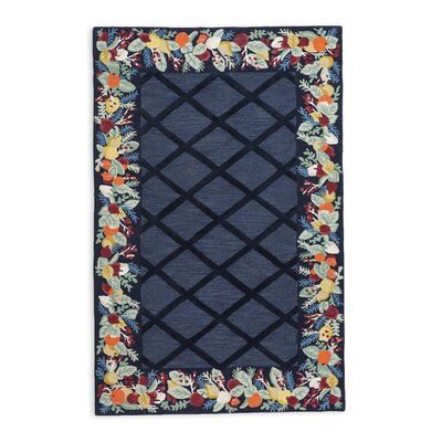 Colonial Fruit Wreath Hand-Hooked/Tufted Wool Blue Area Rug Rug Size: Rectangle 3 x 5