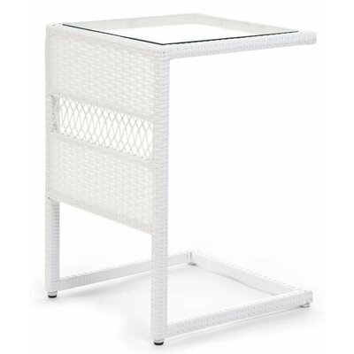 Resin/Wicker Pull Up End Table Color: White