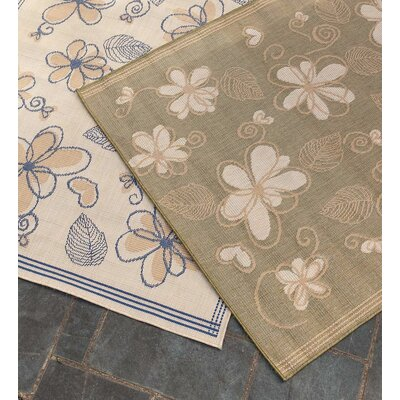 Whimsy Floral Moss Indoor/Outdoor Area Rug Rug Size: Rectangle 410 x 76