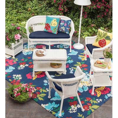 Butterfly Blue/Red Indoor/Outdoor Area Rug Rug Size: Rectangle 35 x 55