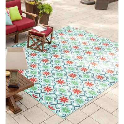 Lexington Floral Light Green Indoor/Outdoor Area Rug Rug Size: Rectangle 37 x 56