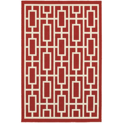 Kailani Red/Ivory Indoor/Outdoor Area Rug Rug Size: Rectangle 37 x 57