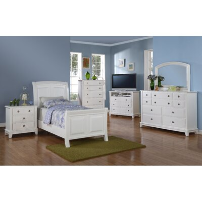 Holzman Sleigh Bed Size: Twin, Color: White