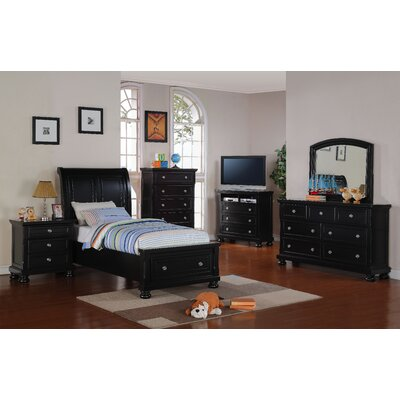 Jenna Storage Sleigh Bed Size: Twin, Finish: Black