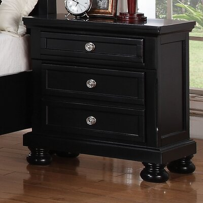 Jenna 3 Drawer Bachelors Chest Color: Black