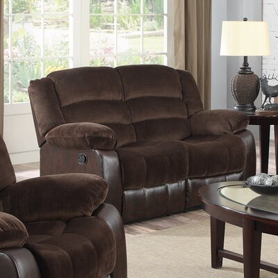 Contour Reclining Loveseat Upholstery: Chocolate