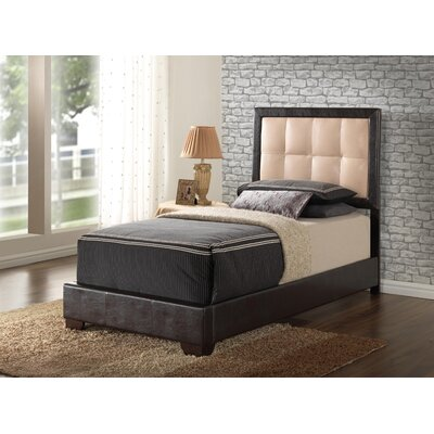 Panel Bed Color: Beige, Size: Twin