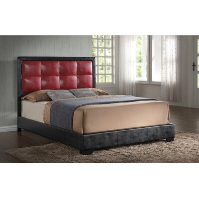 Panel Bed Color: Red, Size: Queen