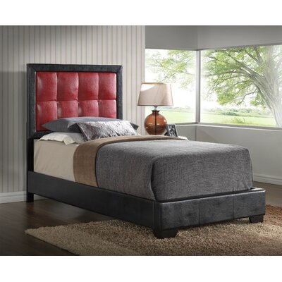 Panel Bed Finish: Red, Size: Twin