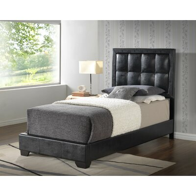 Panel Bed Color: Black, Size: Twin