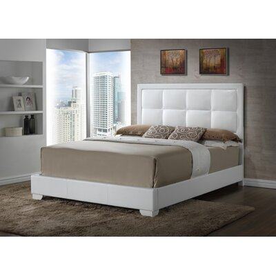 Panel Bed Color: White, Size: Queen