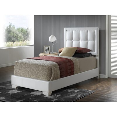 Panel Bed Color: White, Size: Twin