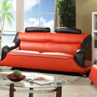 Luzerne Modern Standard Sofa Upholstery: Red/Black Faux Leather