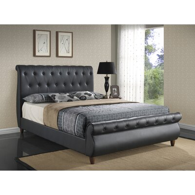 Tina Upholstered Sleigh Bed Finish: Black, Size: King