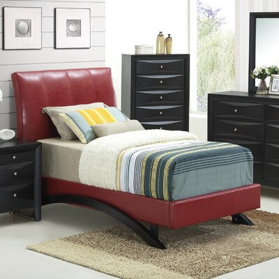 Upholstered Platform Bed Size: Twin, Finish: Red