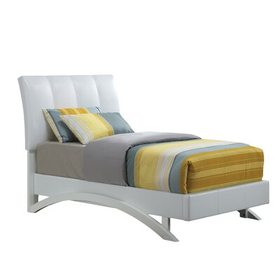 Archer Upholstered Platform Bed Size: Twin, Color: White