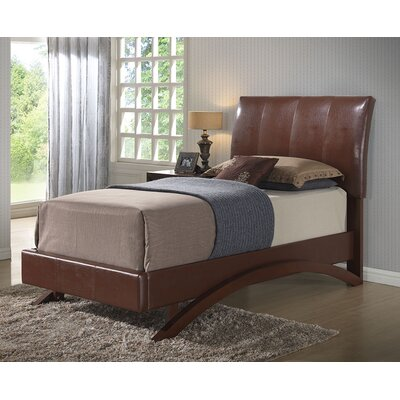 Archer Upholstered Platform Bed Size: Twin, Color: Brown